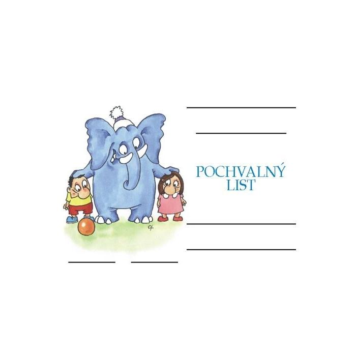 Pochvalný list A5 - Děti a slon