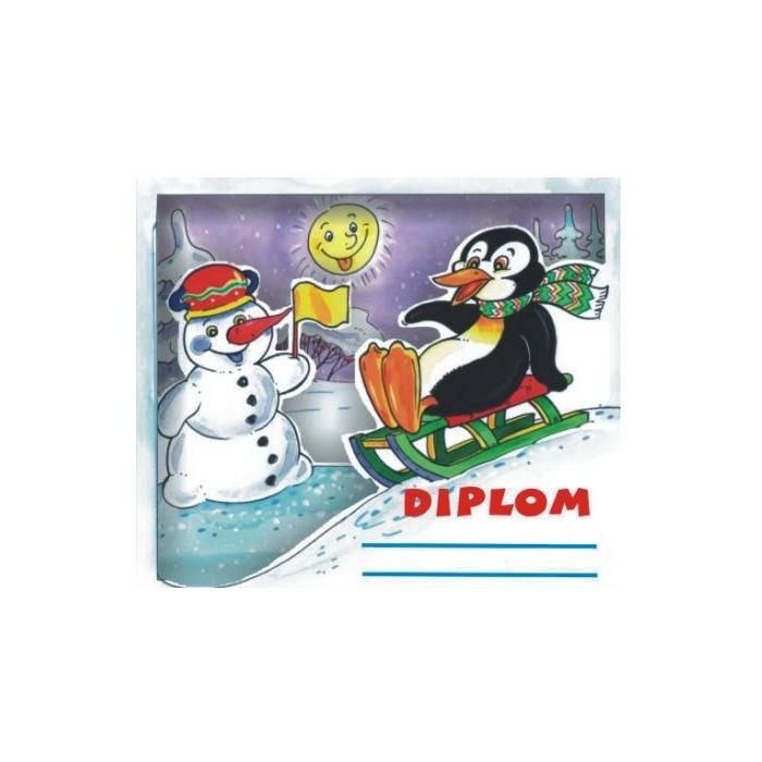3D diplom zimní tučňák - 3 x 155 x 133 mm