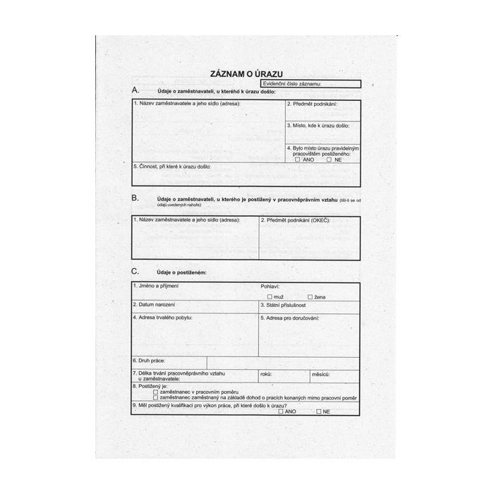 Záznam o pracovním úrazu zaměstnanců