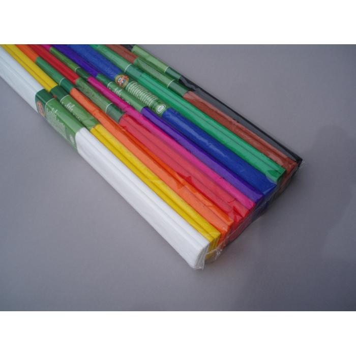 Krepový papír 0,5 x 2,5 m, 10ks, barevný mix