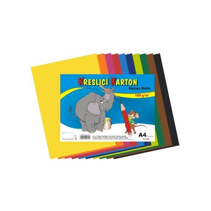 Kreslící karton A4,180g,10 barev,10ks
