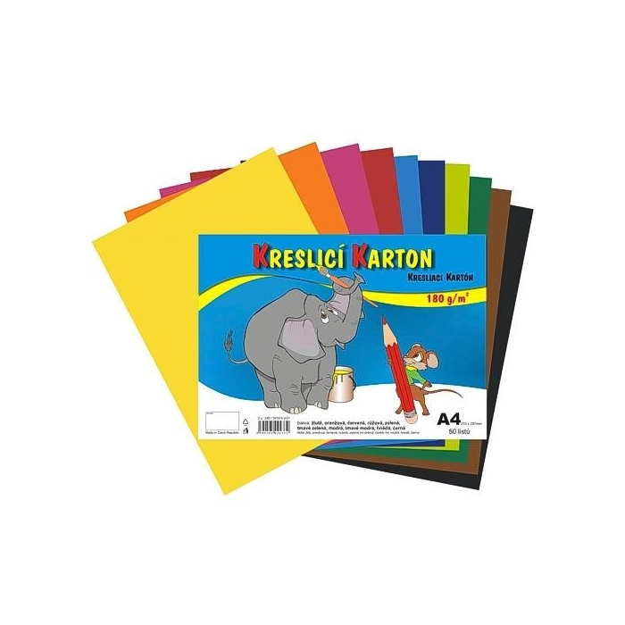 Kreslící karton A4,180g,10 barev,50ks mix.