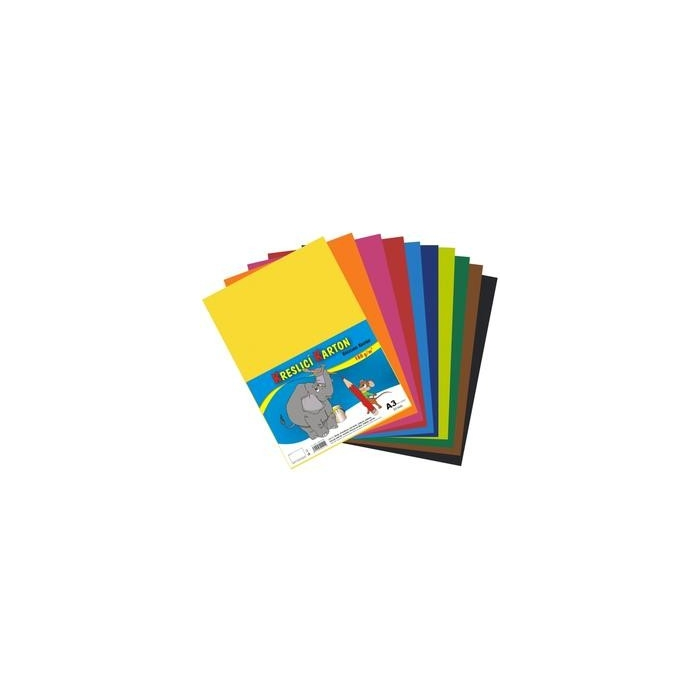 Kreslící karton A3,180g,10 barev,50ks mix.