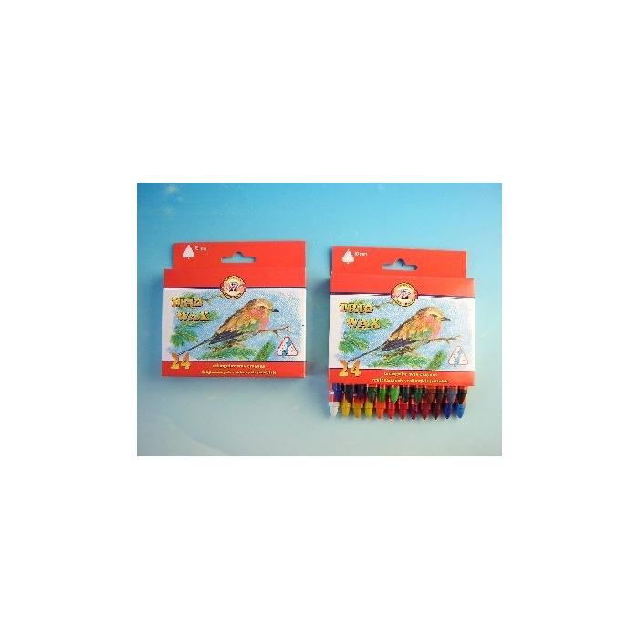 Voskovky trojhranné silné 24 barev