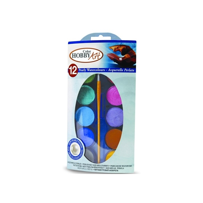 Vodové perleťové barvy 12odstínů