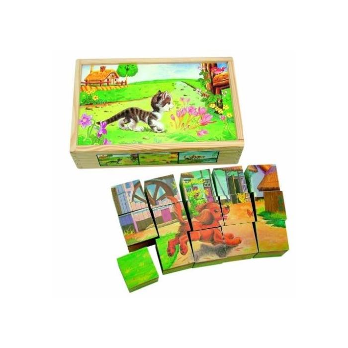 Obrázkové kostky Domácí zvířata 15 ks