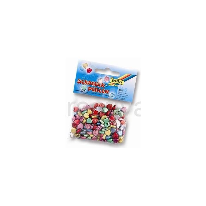 Ozdobné perličky - srdce 160 ks