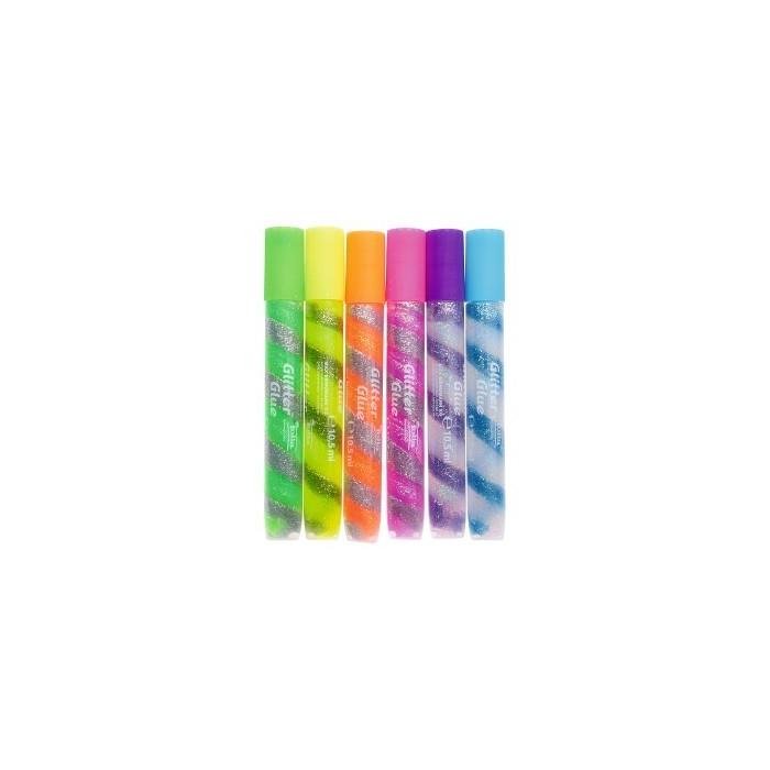 Gelové tužky se třpytkami, s lepidlem 6ks