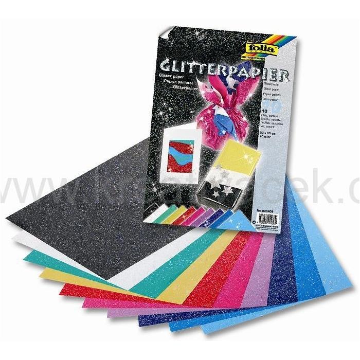 Papír se třpytkami 10 barev