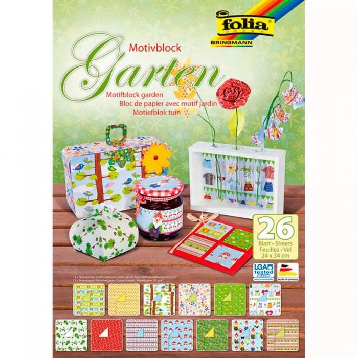 Blok barevných papírů s motivy zahrady