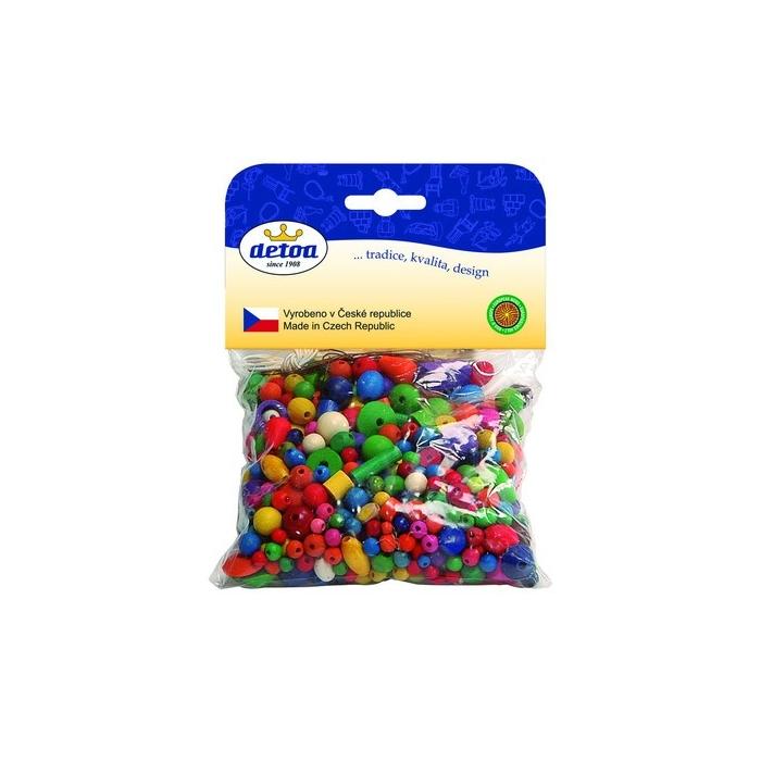 Drevěné korálky mix barev 100g