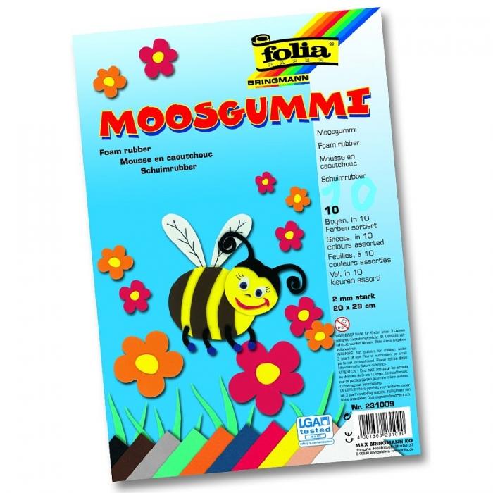 Pěněný papír MOOSGUMMI 20 x 30 cm, 10 ks, barevný mix