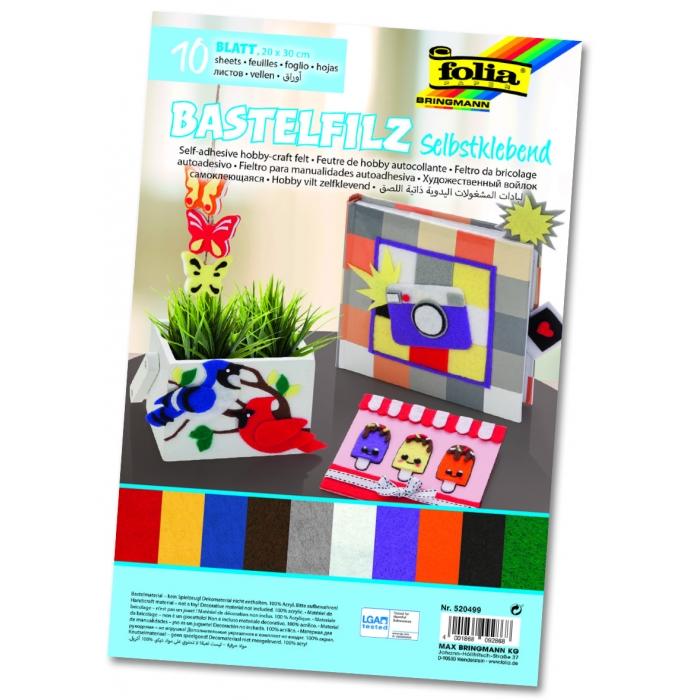 Samolepící filc - 10 barev, 10 kusů