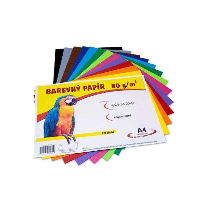 Barevný papír A4, 80g,60ks,mix 12 barev