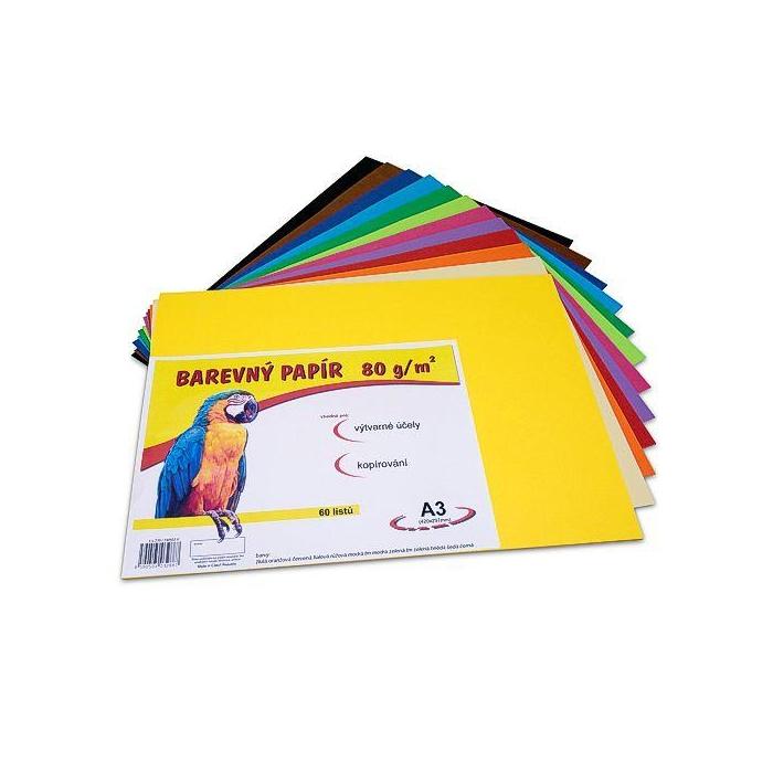 Barevný papír A3 80g,60ks mix 12 barev