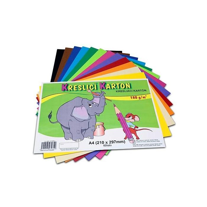 Kreslící barevný karton A4 180g,60ks mix 12 barev