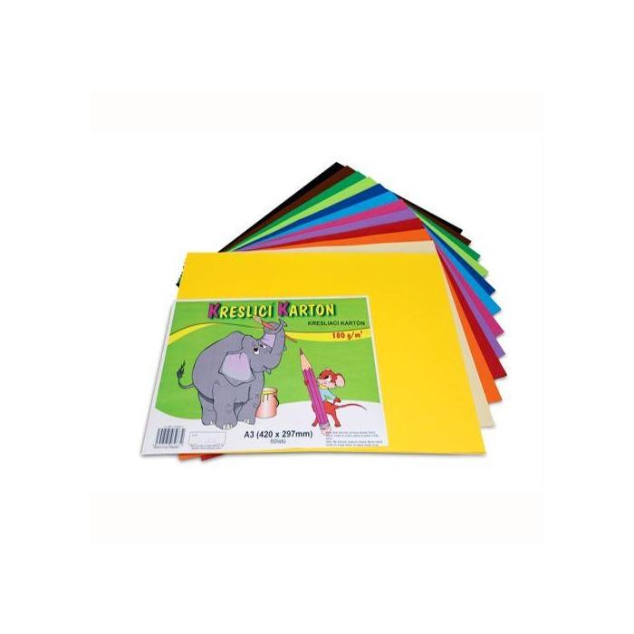 Kreslící barevný karton A3 180g,60ks, mix 12 barev