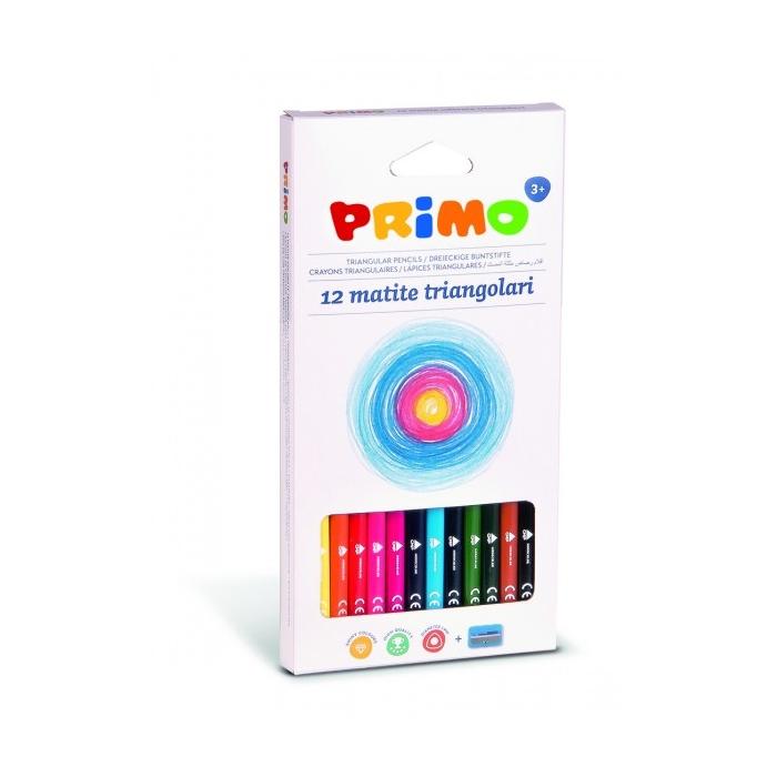 Trojhranné pastelky PRIMO 12 ks + ořezávátko