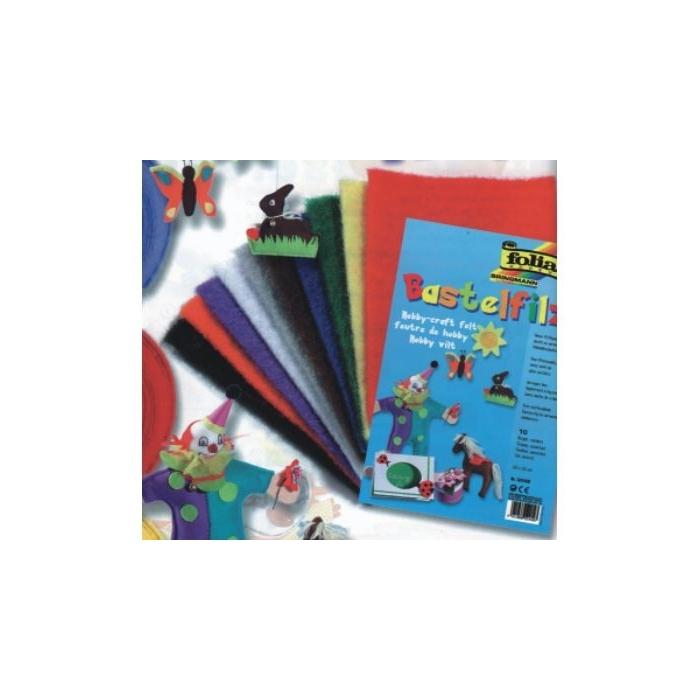 Filcový papír 20 x 30 cm, 150 g, 10 ks, barevný mix