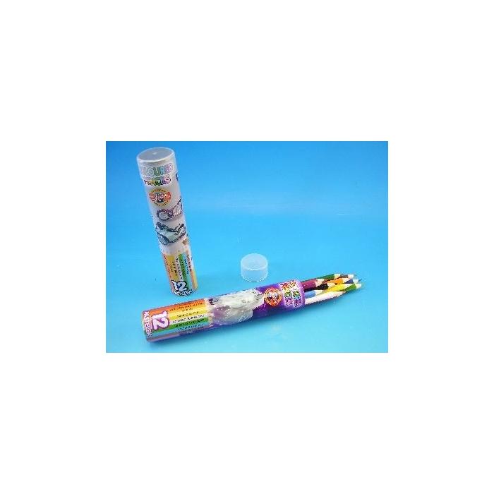 Školní pastelky, plastová tuba, 12 ks