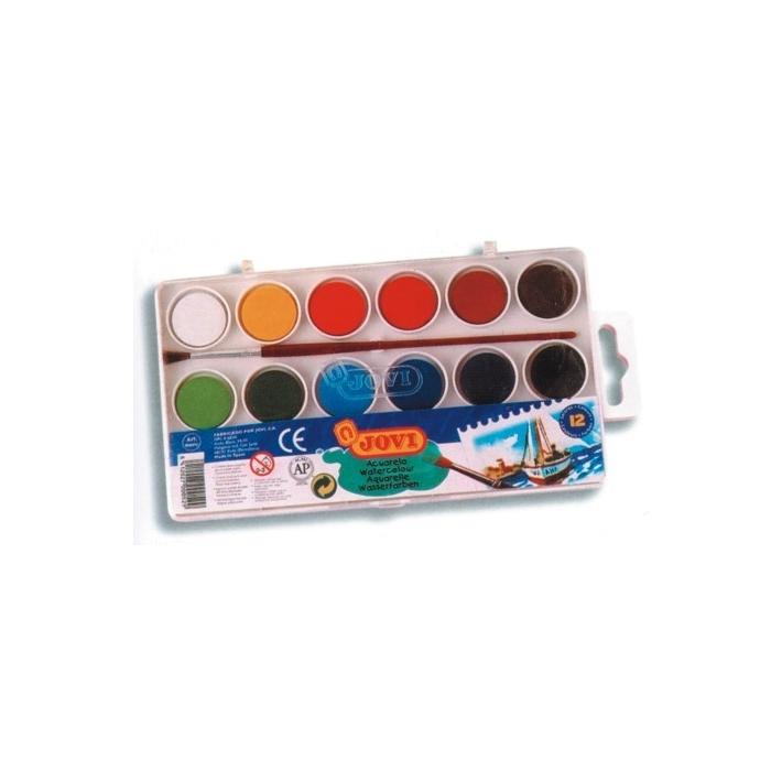 Vodové barvy JOVI 12 ks, průměr 22