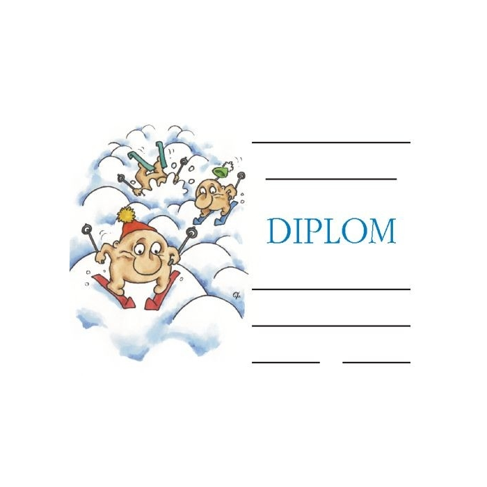 Diplom A5 - Lyžaři