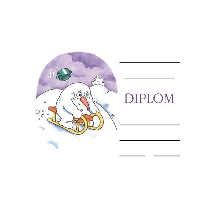 Diplom A5 - Sáňkující sněhulák