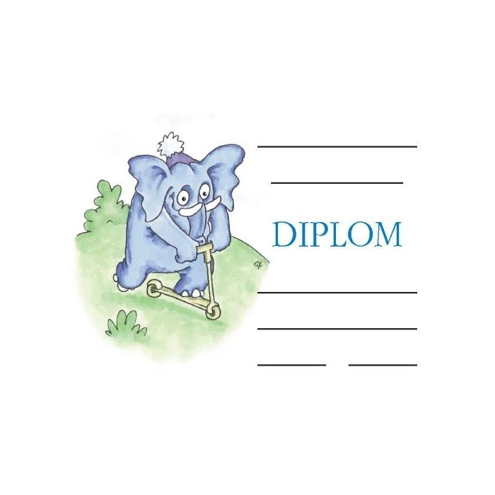 Diplom A5 - Slon a koloběžka